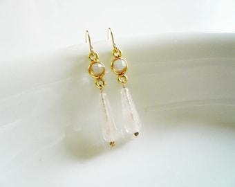 Gold Quartz Earrings. Bezel Set Clear Quartz and Rose Quartz Gemstone Earrings. Gold and Gemstone Drop Earrings. Gold and Pink Earrings.