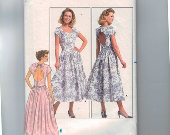 1980s Vintage Sewing Pattern Butterick 5687 Misses Backless Full Skirt Dress Size 8 Bust 31 1/2 80s 1987