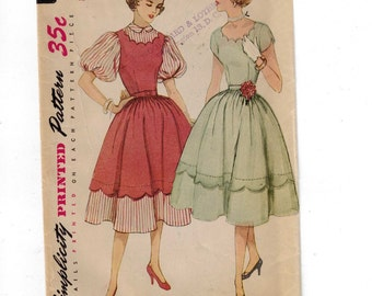 1950s Vintage Sewing Pattern Simplicity 3791 Misses One Piece Dress with Scalloped Neckline and Faux Apron Jumper Size 14 Bust 32 50s