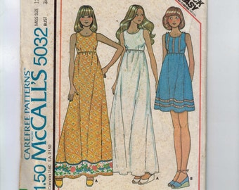 1970s Vintage Sewing Pattern McCalls Easy Sundress High Waist Maxi Size 12 Bust 34 1976 70s