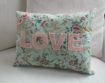 Pastel LOVE Pillow | Sweetheart Lumbar Pillow |  12x16 Pillow | Handmade Calico Pillow | Cottage Chic Valentine Decor | Pink Bedroom Pillow