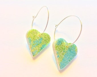 Green and Turquoise Glittered Peppered Hearts Handmade Polymer Clay Earrings