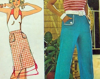 Vintage 70s Halter Top Short Skirt and Wide Leg Cuffed Pants w/flap Pockets Sewing Pattern Size 10 Bust 32.5 V-neck Top w/contrasting Collar