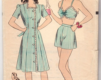 """Vintage Sewing Pattern 1940's Beach Set Bra Top, Shorts, & Dress Hollywood 1345 34"""" Bust - Free Pattern Grading E-book Included"""