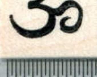 Tiny Om Rubber Stamp, Hindu Icon, Buddhism, Jainism, Sikhism A31718 Wood Mounted