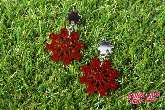 Bronze Mirror and Red Glitter Cog and Gear Dangle Earings, Gearrings, Steampunk Earrings, Laser Cut Acrylic Earrings,