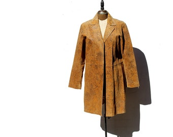 Caramel Tan Leather minimalist Duster Coat