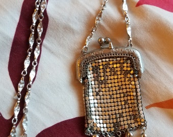 WHITING & DAVIS Style Silver Mesh Pocket Necklace