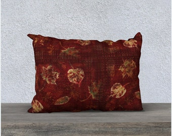 Burgundy and Sage Green Leaves Graphic Stencil Lumbar Throw Pillow Cover, Harvest Theme Home Decor, Decorative Country Home Cushion Cover