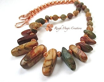 Earthy Stone Necklace, Red Creek Jasper MultiColor Gemstone Dagger Necklace Copper Beads & Chain, Fall Colors Autumn Jewelry, Gift for Women