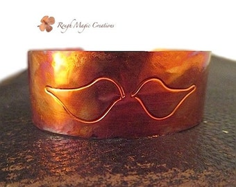 Love Birds Copper Cuff Bracelet, Romantic Anniversary Gift for Wife, Mens Jewelry for Husband, Wedding Present for Couple, Artisan Keepsake
