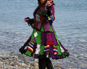 Abarat Medium wool free frankensweater upcycled recycled gypsy coat sweater 141