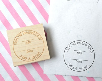 Custom Round Date Rubber Stamp - From the Imagination of Stamp - Personalized Kid Stamp