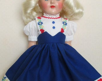 """For 16"""" P-91 Ideal Toni Doll - Tyrolean Dress in Blue, Inspired by Original"""