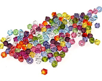144 4mm Swarovski Bicone Beads - 12 Color Rainbow Mix Assortment - Swarovski Crystal Beads 4mm Bicones 5301 5328 Starter Color Collection