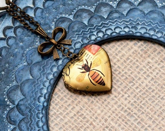 Bee Locket Necklace, Honeybee Necklace, Woodland, Heart Shaped Locket, Insect Jewelry