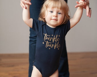 Organic Twinkle Twinkle Onesie, Organic Navy and Gold Baby Bodysuit, Romper, Screen printed romper, 3-6m, 6-12 m, 12-18m by Sweetpea and Co.
