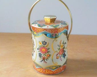 Vintage Candy Tin • Murray Allen Made in England • Blue and Gold with Handle • Floral