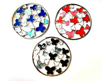 1 piece butterflies pendant, 46mm diameter, silver metal alloy with enamel - C100
