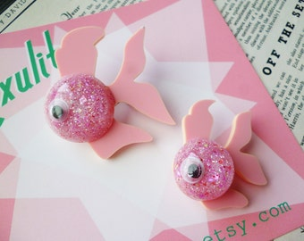 NEW! Confetti Fancy Fish Collection - Pink! Handmade vintage inspired brooch and earrings by Luxulite