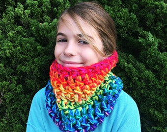 KIDS Rainbow Cowl Scarf!  Super Chunky Bright Colorful Extra Thick. One of a kind.