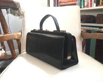 "14"" French Lizard Reptile Skin Leather Handbag 1950's Black Multi Compartment Purse France Vintage Long"