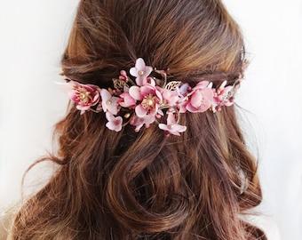 floral hair comb, bridal hair comb, floral hair piece, bridal hair vine, dusty pink flower, mauve wedding, gold headpiece, floral hair vine