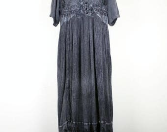 Vintage Black Faded Wash Crinkle Maxi Dress S M