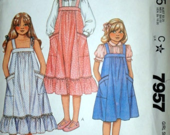 Vintage 80's McCall's 7957 Laura Ashley Sewing Pattern, Girls Jumper, Sundress And Blouse, Size 14, Uncut FF, 1980's Fashion