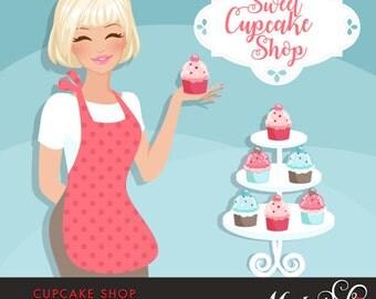 Cupcake Shop Owner Avatar. Blonde woman holding a cupcake, Sweet Cupcake shop frame. Character Graphic, BAKE SHOP, baking clipart, pink
