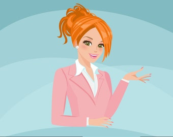 Business owner, shop owner Avatar Design. Red Blonde character graphics, business, blog header, woman illustration, design, pink suit, girl