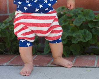 Ready to Ship! Baby Harem SHORTS or PANTS ONLY Stars and Stripes, American Flag, 4th of July Harem Shorts, Toddler Boy, 4th of July Outfit