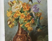 Gorgeous  flower arrangement in vase, Bird, artist signed,  floral arrangement, Spanish postcard