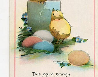 Easter Vintage Postcard, Happy Easter Chicks and colored Easter eggs