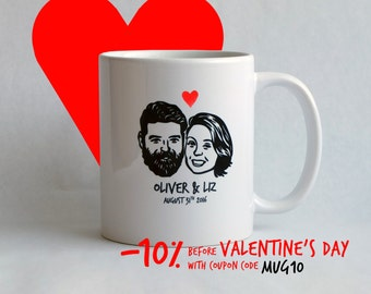 Personalized Valentine's day gift custom portrait Unique couples' art personal mug / funny wedding Couples / bachelorette gift idea coffee