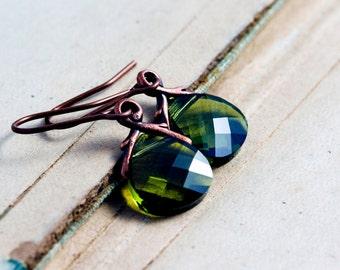 Swarovski Crystal Earrings, Dangle Earrings, Drop Earrings, Moss Green, Copper Earrings, Nature Jewelry, Woodland, Forest Green, Gift Idea