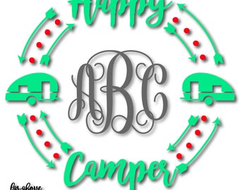 Happy Camper Monogram Wreath with Arrows (monogram NOT included) - SVG, DXF, png, jpg digital cut file for Silhouette or Cricut