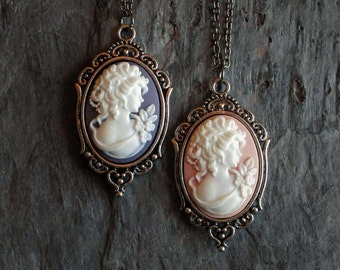 Cameo necklace, pink cameo necklace, purple cameo necklace, silver cameo necklace, cameo jewelry, holiday gift ideas, gift ideas for mom