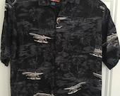 Vintage Silk Hawaiian Shirt, Short Sleeve Button Down Shirt, Gray Grey Silk Hawaiian Shirt Sz M Medium, Aloha Tropical Shirt Airplane Print
