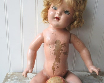 Vintage shabby composition doll unmarked Shirley type creepy as is eyes shabby paint 20 inch vintage toy