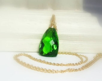 Statement Necklace, Parrot Green Quartz Gold Filled Pendant, Ready to Ship