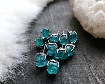 Raw apatite earrings | Apatite studs | Rough apatite stud earrings | Neon blue apatite earrings | Apatite crystal earrings | Crystal studs
