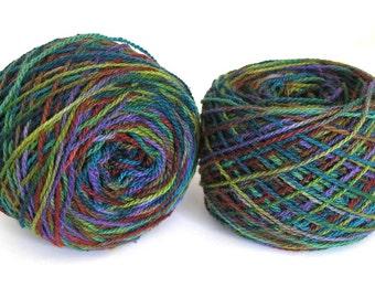 Hand Dyed Yarn Wool Silk Nylon Sport Weight Yarn Soft Colorful Shiny Yarn 375 yards Green- Enchanted Forest