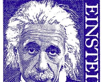 REMASTERED 1968 Albert Einstein POSTAL STAMP Print Poster in Various Sizes