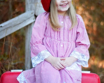 Girls peasant dress - girls dresses - boho dress - boho dress baby - red dress - bohemian dress - red gingham dress - tunic dress