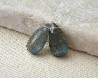 Aqua Labradorite Faceted Teardrop Beads 13 x 6.25mm - Matched Gemstone Pair