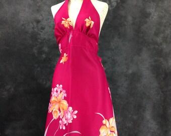 Vintage 1970's Hawaii Nei orchid print magenta pink polyester halter dress