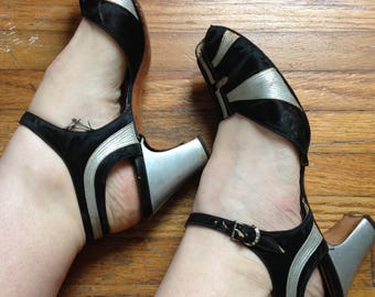 Vintage 1930's black and silver sandals Palter de Liso 8 1/2 Narrow