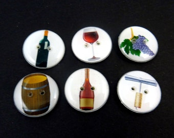 "6 Wine Themed Buttons.  Two Hole Sewing Buttons. 3/4"" or 20 mm. Wine Glass, Cork Screw, Wine, grapes.  Handmade  Washer and Dryer Safe."