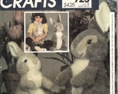 McCalls 8951 723 1980s Bunny Rabbit Pattern 12 and 15  Inch Fun & Fancy Huggable Stuffable Bunnies Vintage Sewing Pattern UNCUT